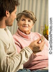 kvinnlig, lycklig, caregiver, senior