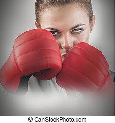 kvinnlig, mäktig, boxare