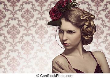 kvinnlig, med, mode, romantisk, stil
