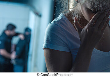 kvinnlig, offer, livrädd