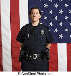 kvinnlig polis, och, flag.