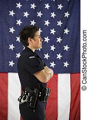 kvinnlig polis, profile.