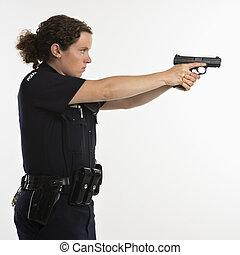 kvinnlig polis, sikta, gun.