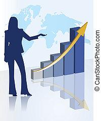 kvinnlig, presentation, kartlägga, affär
