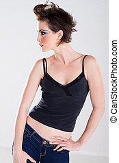 kvinnlig, sätt modellera