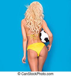 kvinnlig, sexig, fotboll, player.