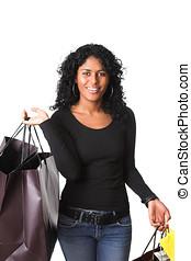 kvinnlig, shopper