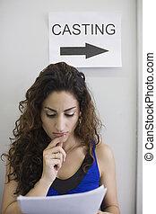 kvinnlig, skådespelare, hos, casting, rop