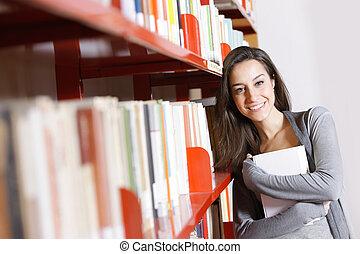 kvinnlig, student:, lycklig, in, den, bibliotek