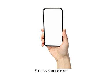 kvinnlig, tom, hand, vit, räcka telefonera, avskärma, bakgrund, isolerat