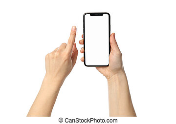 kvinnlig, tom, vit, räcker, räcka telefonera, avskärma, bakgrund, isolerat