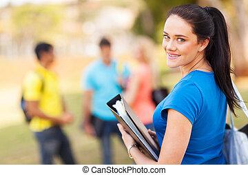 kvinnlig, universitet studerande, utomhus