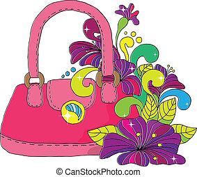 kvinnlig, väska, dekorerat, brigg