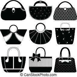 kvinnlig, väska, handväska, portmonnä, kvinna