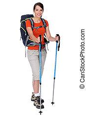kvinnlig, vandrare