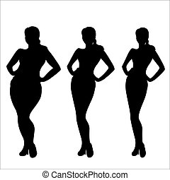 kvinnlig, weight-, stegen, av, viktförlust, silhuett
