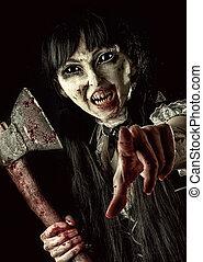 kvinnlig, zombie, med, blodig, yxa
