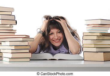 kvinnligt studerande, med, böcker