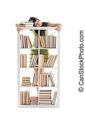 kvinnligt studerande, med, böcker, vit fond