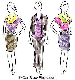 kvinnor, beklädnad, mode, affär