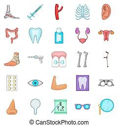 kvinnor, hälsa, ikonen, sätta, tecknad film, stil