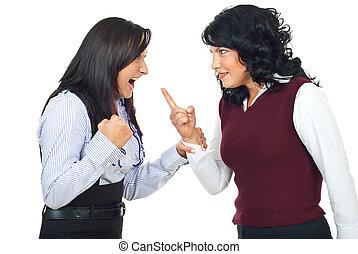 kvinnor, ha, konflikt, två