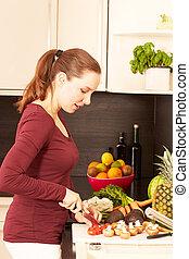 kvinnor, i köket