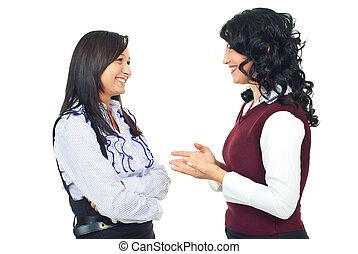 kvinnor, konversation, lycklig, ha, två