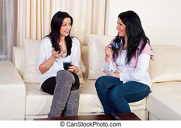 kvinnor, konversation, vänner, hem, två