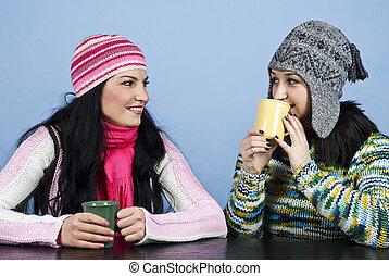 kvinnor, konversation, vänner, tycka om, två
