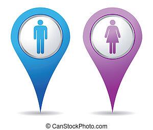 kvinnor, män, lokalisering, ikonen