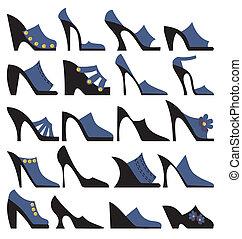 kvinnor, sommar, skor