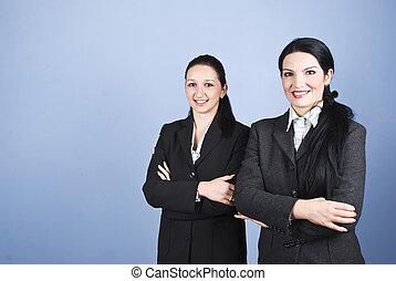 kvinnor, två, affär