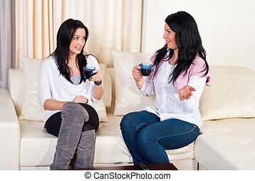 kvinnor, vacker, konversation, hem, ha