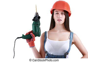 kvinnor, visar, konstruktion, redskapen, isolerat, vita, bakgrund