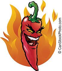 kwaad, peper, chili, rood