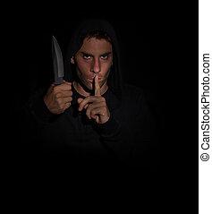 kwaad, terwijl, mes, vasthouden, gesturing, stilte, man