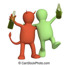 kwaad, van, alcoholisme