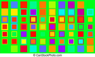 kwadraty, barwny, minimalizm, pojęcie, ekran, zielony, moment