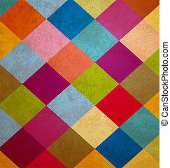 kwadraty, grunge, barwny, tło