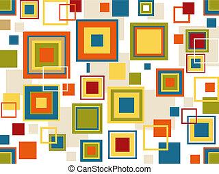kwadraty, retro, tło, seamless