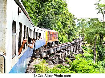 kwai, holt, szirt, mellett, thaiföld, vasút, folyó, mentén