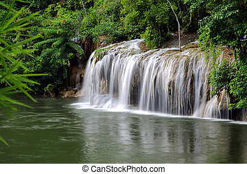 Kwai noi river and Saiyok Noi Waterfall, Kanchanaburi...