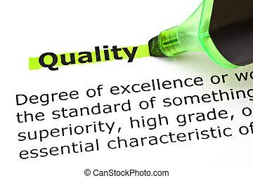 kwaliteit, aangepunt, in, groene