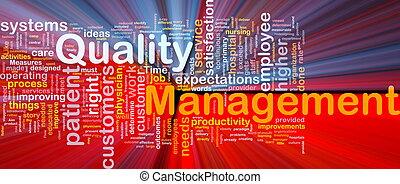 kwaliteit bestuur, achtergrond, concept, gloeiend
