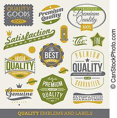 kwaliteit, etiketten, guaranteed