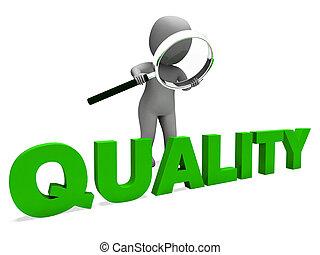 kwaliteit, karakter, optredens, perfectie, goedkeuring, en,...