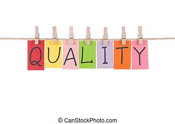 kwaliteit, woorden, hangen, door, houten, pin