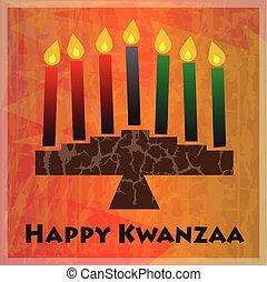 Kwanzaa Greetings - Kinara and Happy Kwanzaa text on orange...