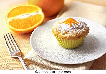kwark, muffin, met, sinaasappel, zest